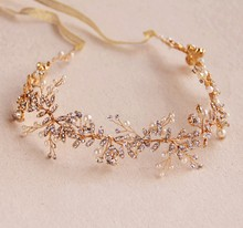 Dower  me Stunning Gold Silver Rhinestone Wedding Hair Vine Accessories Handmade Bridal Headband Pearl Headpiece