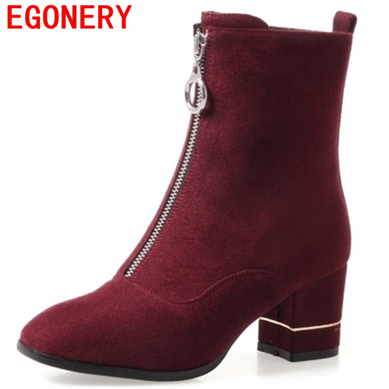 egonery ankle boots high heels 2017 winter pointed toe quality front zipper square toe shoes woman breath flock fashion booties<br>