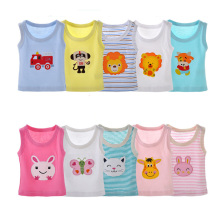 2018 New 5pcs/lot New Summer Girls Vest T Shirt Top Cotton Sleeveless Clothes Infant Cartoon Vest Newborn Babies Color Random(China)
