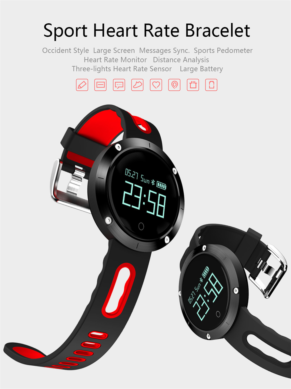 Teyo Heart Rate Monitor Smart Band Fitness Bracelet Blood Pressure Sleep Tracker Pedometer Bluetooth Wristband For Android IOS 3