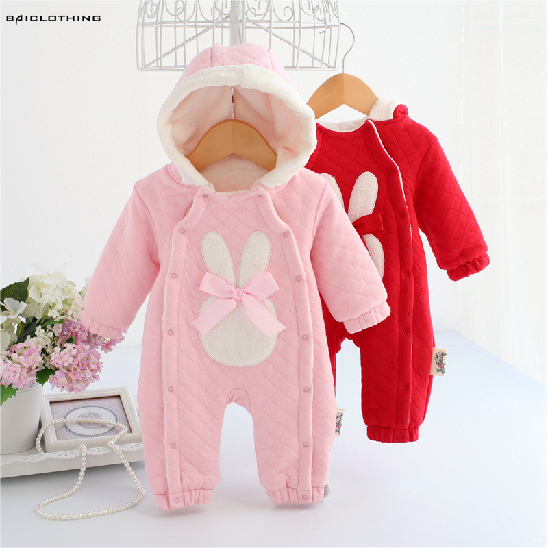 Winter Infant Baby Girls Warm Thickening Rompers Children Fleece Outwear Kids Jumpsuits Hooded Cute Rabbit Clothes 0-12M<br>