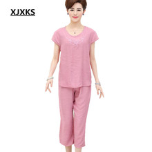 2017 Specials Fluid Systems sets womens tops and blouses summer new loose large size of linen embroidered two - piece top+pants(China)