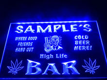 DZ082- Name Personalized Custom weed hemp High Life Bar Beer Neon Sign  hang sign home decor shop crafts