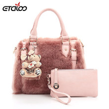 Handbags 2017 Europe and the United States new rabbit fur bag women winter bag(China)