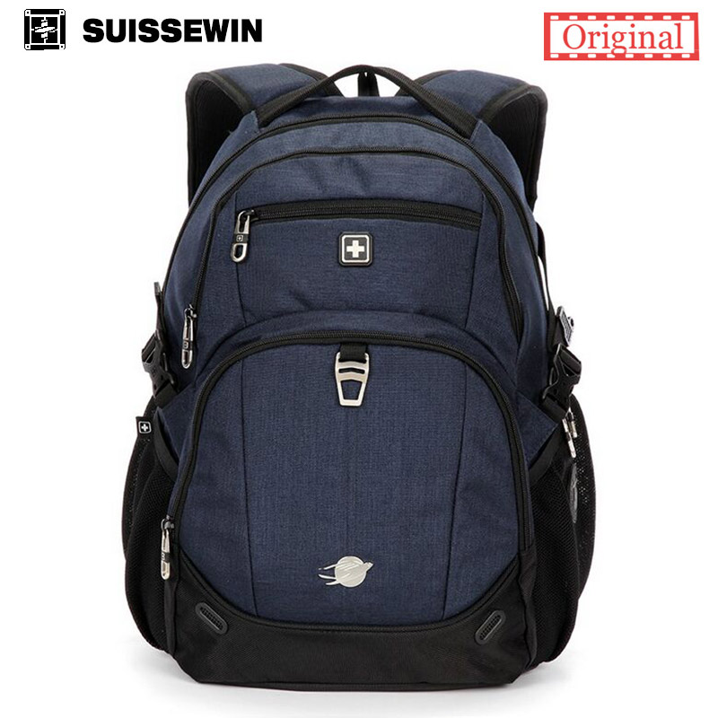 Suissewin Brand Mens Backpack SN8043 Swiss Army Waterproof Women Laptop Travel Backpack Bagpack Back Bag Black White sac a dos<br><br>Aliexpress