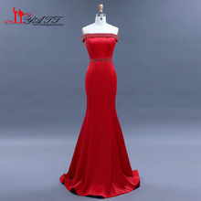 2017 Cheap Evening Prom Dresses Red Sexy Mermaid Elegant Amazing Crystal Waist Luxury Boat Neck Long Discount Women Gown LIYATT(China)