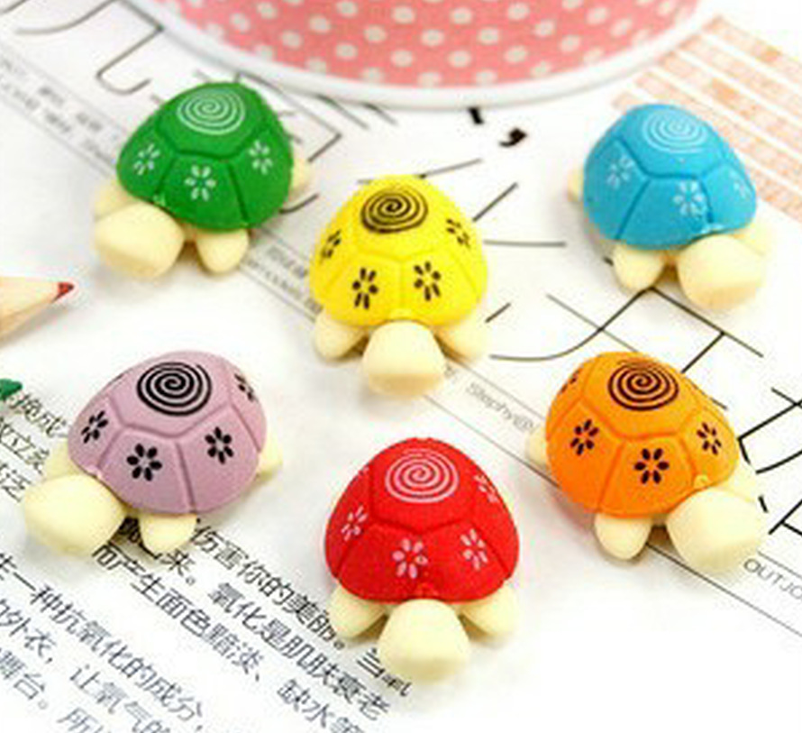 South Koreas creative stationery pencil erasers wholesale small fresh cute cartoon color turtle stationery eraser 45 pcs/set<br>