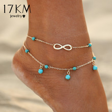 17KM New Double Infinite Beads Pendant Anklet Foot Chain For Woman Summer Bracelet Charm 2 Color Anklets Foot Jewelry Gift(China)