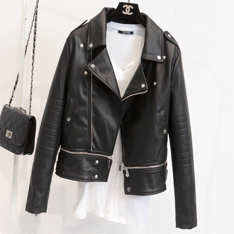 Women Slim Fit Biker Coat Motorcycle Zipper Soft PU Leather Jacket Short Blouse
