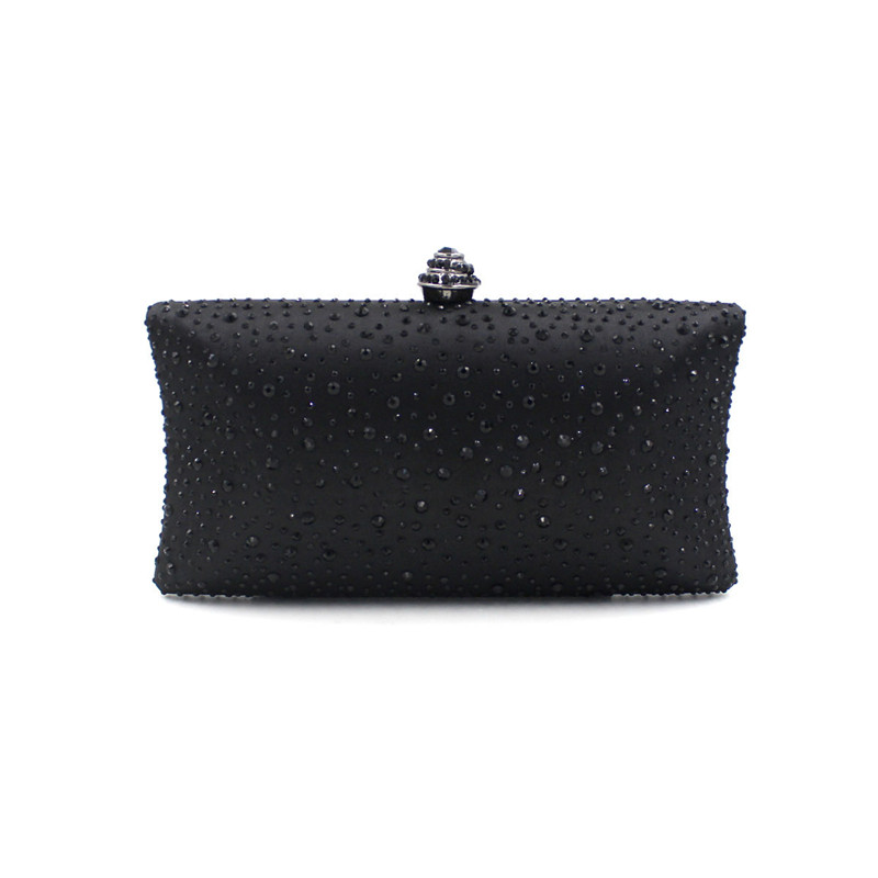 Womens black Crystal Metal Hard Case Evening Clutches Bags Bridal Wedding Party Cocktail Dinner Diamond Handbags Purse<br>