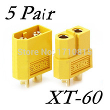 Wholesale 5 Pair Of  XT60 XT-60 Male Female Bullet Connectors Plugs For RC Lipo Battery Quadcopter Multicopter Free Shipping