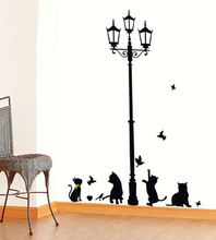 New Hot Naughty Cats Birds and Street light Lamp Post Wall Stickers home decoration School Room Kindergarten Wall Sticker 7Style(China)