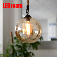 Loft hemp rope retro lighting a buffet restaurant lighting individuality creative glass clothing store droplight sitting room