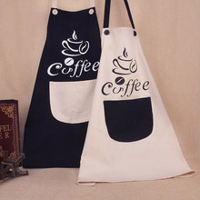 High Quality Fashion Coffee Restaurant Work Apron Cotton Waist Apron Kitchen Chef Cooking Apron For Women Men With Pockets(China)