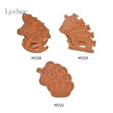 Lychee 5 Pieces New Arival Tag Wooden Horse Heart Tripe Crown Shape DIY Garment Tags