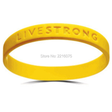 300pcs Live Strong wristband silicone bracelets free shipping by DHL express(China)