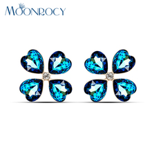 MOONROCY Free shipping Fashion Zirconia Stone Blue Rose Red Fashion Crystal Earrings Jewelry Heart new For Women Gift