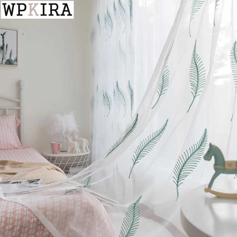 European Embroidery Leaf Tulle Bedroom Living Room Curtain Simple Fashion Window Screen Finished Custom Curtain C004&30