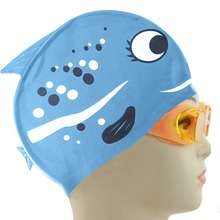 Cute Lovely Cartoon Fish Swimming Cap for Kids Children Pure Silicone Bathing Caps Swim Sports Accessories Shop BB55(China)