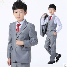 Junior Boy Blazer Suit High Quality Wedding Flower Boy dress Shirt vest jacket tie pant 5pcs child clothing set formal gray suit