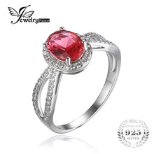 JewelryPalace Classic 2ct Pink Created Sapphires 925 Sterling Silver Halo Engagement Ring For Women Fine Jewelry New Hot Sale