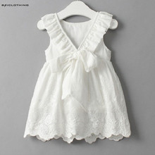 2017 Summer Bow Baby Girls Cotton Dress Sundress Cute Princess Dress White Embroidery Dress Children Clothes For Girls 2-6Y