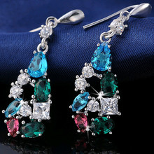 Effie Queen  Wholesale Big Size Dangle Earring with Colorful Austrian CZ Crystal Popular Jewelry Design for Girls WHE109