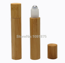 Free shipping high quality 15ML roll on bamboo bottles essential oil perfume deodorant packaging bottle portable massage ball