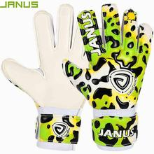 JANUS Brand Kids Children Soccer Goalkeeper Gloves With Finger Protection Thickened Latex Leopard Print Football Goalie Gloves