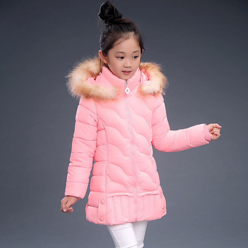 Girls winter coat child wadded jacket outerwear thermal winter child girl primary school students baby thickening size 6-14yrs<br>
