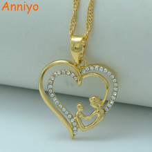 Anniyo Heart Mum & Baby Necklaces,I Love My Mother,Gold Color Mama Pendant Jewelry,Mother's Day Gift/Mom Birthday Gift #005202(China)