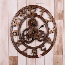 NEW Retro Gear wood wall clock wandklok wall clocks Vintage 3d home decor kitchen relojes decoracion saat wanduhr watches reloj(China)