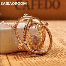 Gold-color time turner necklace hourglass vintage pendant Hermione Granger for women lady girl wholesale 0131