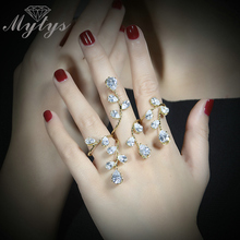 Mytys Plant Design Cuff Hand Palm Ring  GP Prong Setting Zircon Cuff 3 Finger Hand Ring R1087