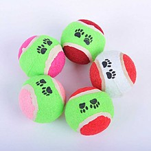 1PC Small Tennis Ball Dog Toy Footprint Run Catch Throw Play Toy Pet Chew Toys Balls Puppy Squeaky Training Outdoor Supplies