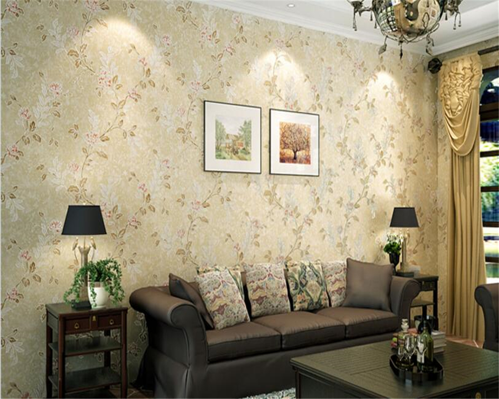 beibehang American fashion simple rural pastoral floral gold foil non-woven 3d wallpaper background wall papel de parede behang <br>