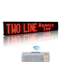 16 x128pixel RED Indoor led display Remote Control Two Lines Running English Text LED sign Display Board with Keyboard(China)