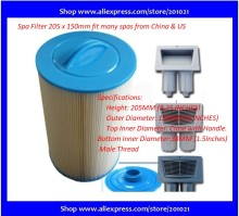 "China Paper filter length 8-1/16"" Outer Diametre 6"" hot tub filter for Australia France UK Norway Sweden Russia spas"