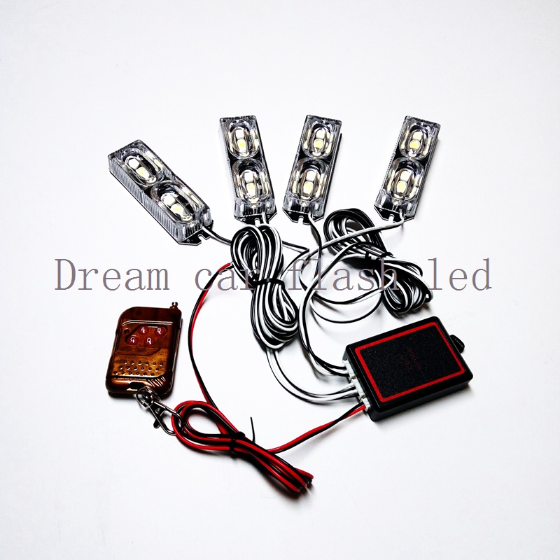 new  03039 The wireless remote control 4X6LEd  12V Car Warning Light  24 W Flash Strobe Light   Lights for Automobile Front<br>