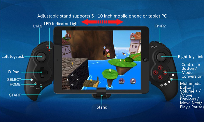 ipega pg-9023 Telescopic Wireless Bluetooth Gamepad Gaming Controller Game Pad Joystick for Android Phones Windows PC Pad