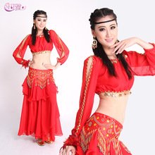 Top + Belt + Skirt belly dance costumes belly dancing indian dress costume for bellydance gypsy 6 colors