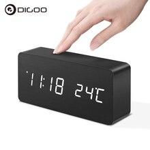 Digoo DG-AC2 3Mode Wooden Voice Smart Remote Control LED Digital Alarm Clock Multifunctional Display Time Temperature Desk Clock