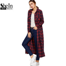 SheIn Women Blouses Plaid Long Sleeve Ladies Tops Pockets New Arrival Casual Shirts Navy and Red Color Block Maxi Blouse