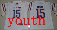 New Arrival Nike Youth Florida Gators Tim Tebow 15 College T-shirt Jersey - White Size S,M,L,XL