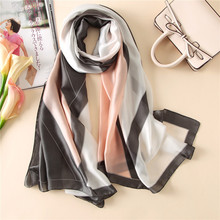 Visual Axles Pure Silk Scarf Luxury Brand 2017 Fashion Women Designer Tartan Turkish Silk Shawls and Scarves 180cm SFN148