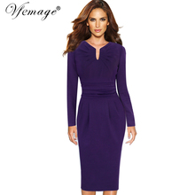 Vfemage Womens Autumn Winter Elegant Pleated Notch V Neck Ruched Wear to Work Business Party Cocktail Bodycon Sheath Dress 10022(China)