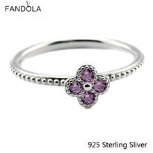 Original 925 Sterling Silver Oriental Blossom, Pink CZ Charms Ring Fit With Other Jewelry Fashion Charms For Women(China)