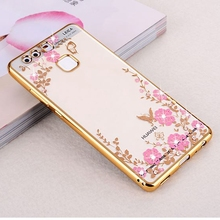 Plating Diamonds Flower Soft Case Cover For Huawei P8 P9 lite Y6 2 II Honor 5X 6X 8 4C Pro