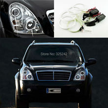 For Ssangyong Rexton 2006 2007 2008 2009 2010 2011 2012 headlight Excellent CCFL Angel Eyes kit Ultra bright illumination