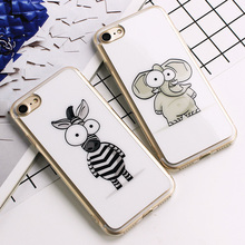 Cute Cartoon Elephant Zebra Pattern Silicon Soft TPU Case For iphone 7 7plus 6 6s 6plus 6s plus Cover White simple phone shell